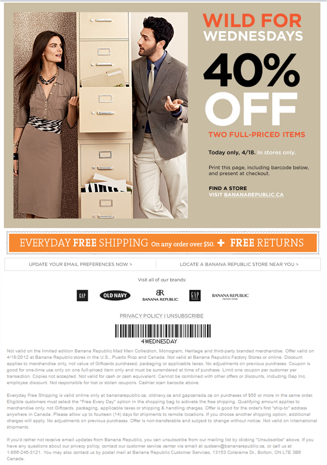 Banana Republic Wendnesday 40% off