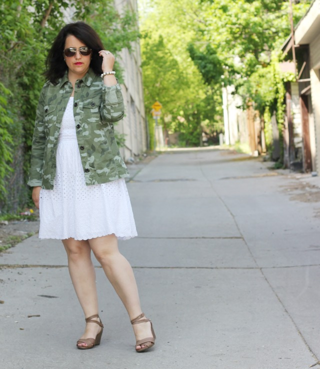 camo jacket white dress