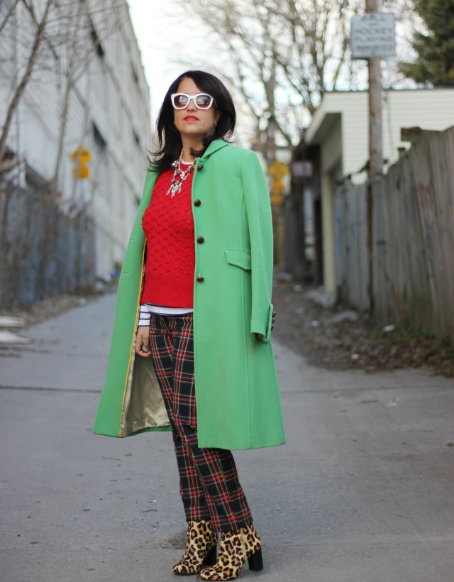 Christmas outfit, tartan pants, leopard booties, green coat