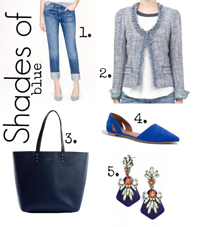 shades of blue, boyfriend jeans jcrew, madewell d'orsay flats, rebecca minkoff tote, tweed jacket